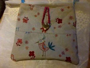 handmade fabric bag inside